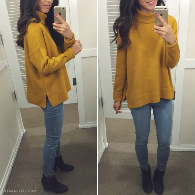 cozy turtleneck swing sweater - mustard yellow