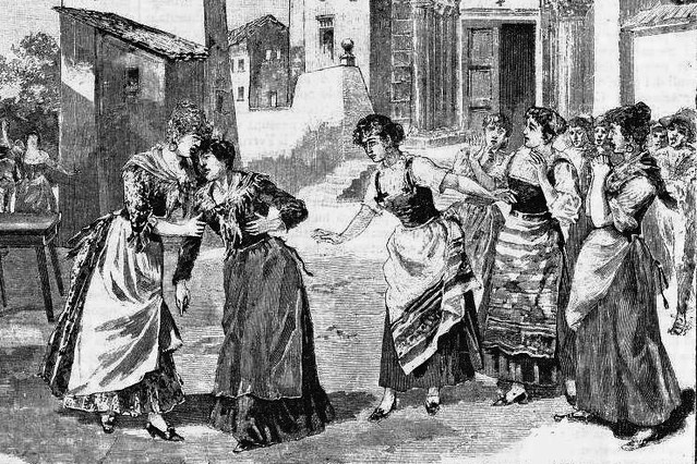 Depiction of a scene from Pietro Mascagni's opera Cavalleria rusticana at the opera's world premiere, 17 May 1890, Teatro Costanzi, Rome. Courtesy Wikimedia/Creative Commons