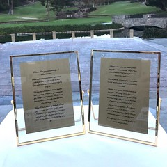 This is a perfect example of how to do your vows for a wedding ceremony. Print them out and put them in frames. They look so much better in the pictures then a crumpled up piece of paper. Then place them on the cake table and then display them at your hom
