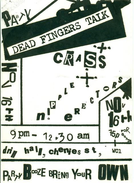 CRASS, NIPPLE ERECTORS, DEAD FINGERS TALK @ DRILL HALL 1977
