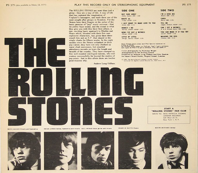 "ROLLING STONES SELF-TITLED YELLOW LONDON PS 375 12"" LP"