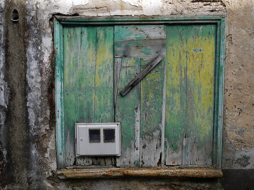 Green shuttered window in in Mondoñedo