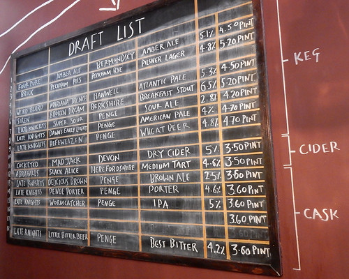 Draft list at Beer Rebellion, Peckham, London SE15