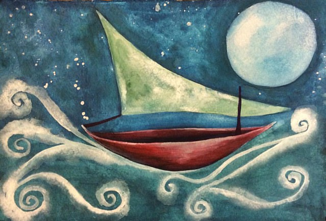 Night Boat #boats #gouache #paintings #art