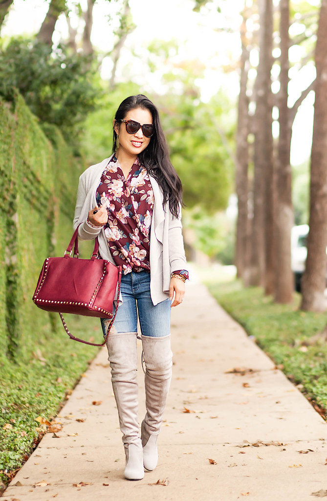 cute & little blog | petite fashion | burgundy floral top, gray cascade waterfull cardigan, ag distressed jeans, stuart weitzman highland boots | fall outfit