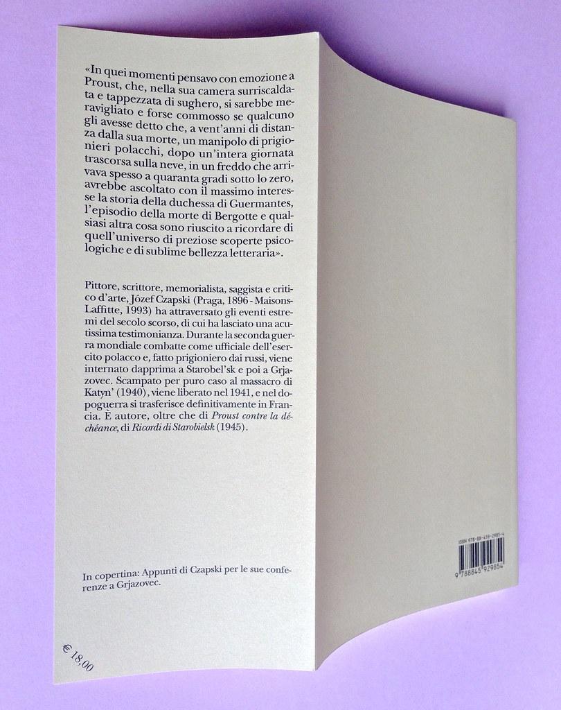 Proust a Grjazovec, di Józef Czapski. Adelphi 2015. Resp. grafica non indicata. Dandella della quarta di copertina, q. di cop. (part.), 1