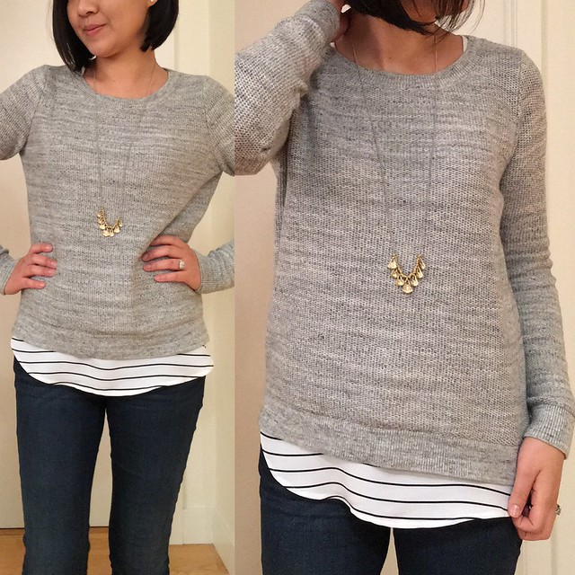 LOFT Marled Hi-Lo Sweater Outfit - http://rstyle.me/cz-n/bb8afnrrke