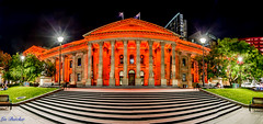State Library turns orange - Victoria Against Violence.