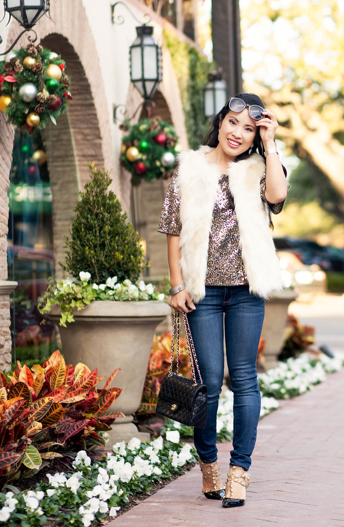 cute & little blog | petite fashion | faux fur vest, sequin top, paige verdugo jeans, black studded pumps | winter holiday party new years outfit