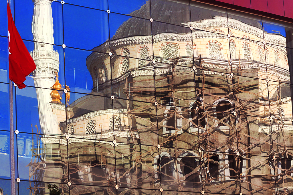 Reflection of mosque under construction--Istanbul