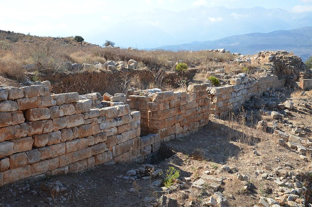The remains of the massive fortification wall made of large polygonal stones, it was built in the mid-4th century BC with a total circumference of 3.5km, Aptera, Crete