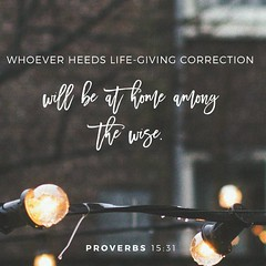 If you listen to constructive criticism, you will be at home among the wise. If you reject discipline, you only harm yourself; but if you listen to correction, you grow in understanding. Proverbs 15:31‭-‬32 NLT