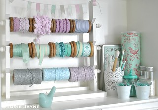 Craft room dresser shelf