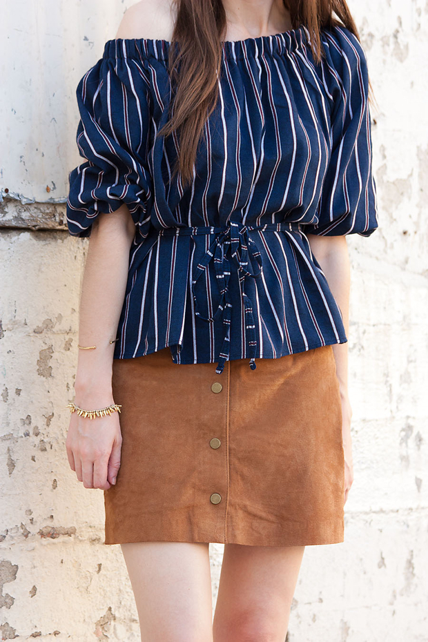 Button Front Skirt, Striped Off the Shoulder Top