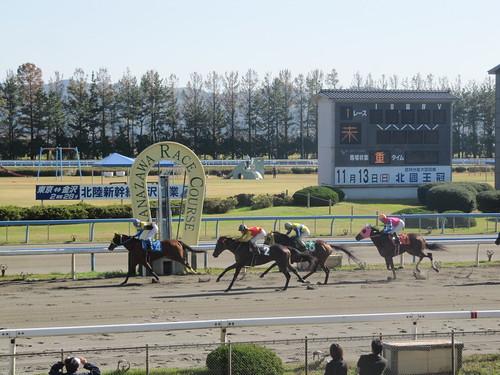 金沢競馬場のゴール板を通り過ぎる馬たち