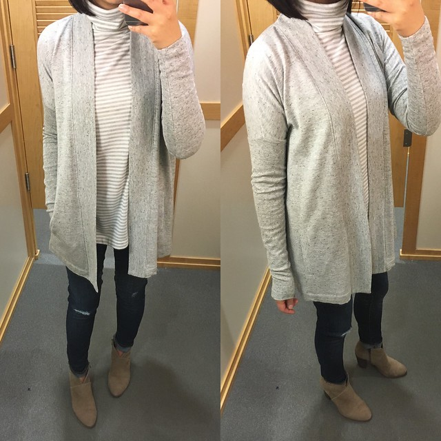 Lou & Grey Signaturesoft Open Cardigan (size XS regular) & LOFT Striped Turtleneck Sweater (size SP)