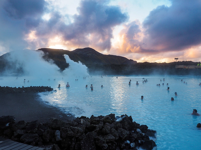 Sunrise at the Blue Lagoon in Iceland