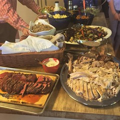 Happy Thanksgiving . The spread includes a big ass stuffed turkey, oak smoked whole tenderloin, homemade yeast rolls, homemade cranberry compote and 🌶 whole cranberry sauce, roasted mixed vegetables, dressing, mashed potatoes and sweet potatoes