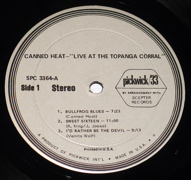 "Canned Heat Live at Topanga Corral 12"" VInyl LP"