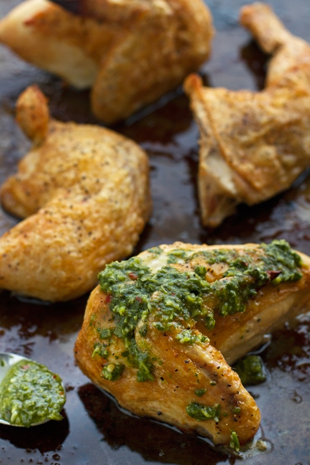 Quarted ROasted Chicken with Chimichurri Sauce - 5 simple ingredients and this is truly the crispiest chicken you'll ever experience! #chimichurrisauce #roastedchicken #bakedchicken #crispychicken | Littlespicejar.com
