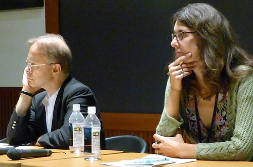 Joel Pfister and Jeanine DeLombard listen to a question from the audience. Discussions were frequent, rich, and probing, making our panelists think long and hard, as you can see. Roundtable #2,