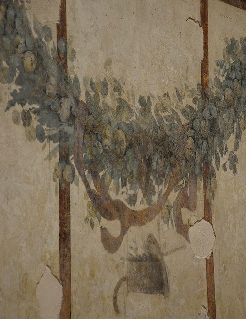 The right-hand room of the House of Livia, characterized by luxuriant festoons and garlands of fruits, flowers, branches and leaves, House of Livia, Palatine Hill, Rome