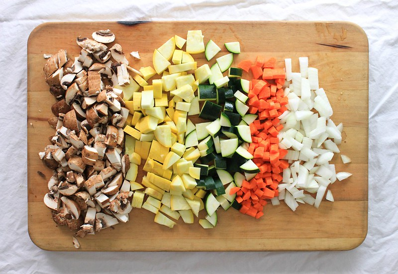THE ULTIMATE VEGETABLE LASAGNA: diced/chopped vegetables