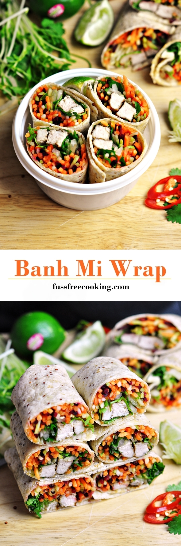 Banh Mi Wrap ft Mission Chia Wrap & Red Quinoa Wrap | www.fussfreecooking.com