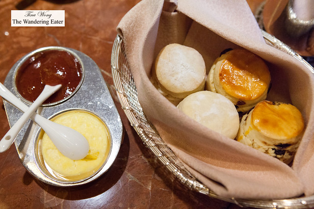 Fresh baked scones and sides of clotted cream and the hotel's signature rose jam