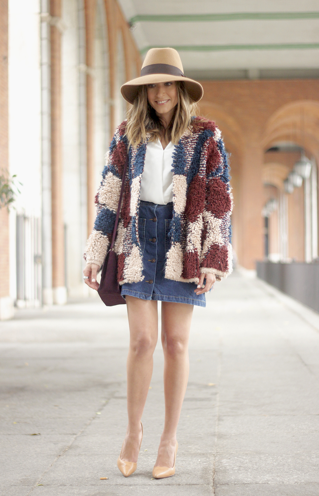 Cardigan Denim Skirt Camel Hat Burgundy Bag outfit06