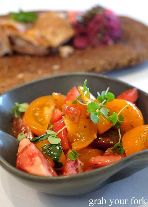 Heirloom tomato salad by Pilu at Freshwater, Sydney
