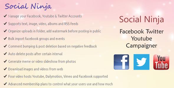 Codecanyon Social Ninja v1.3 - Facebook Twitter Youtube Campaigner