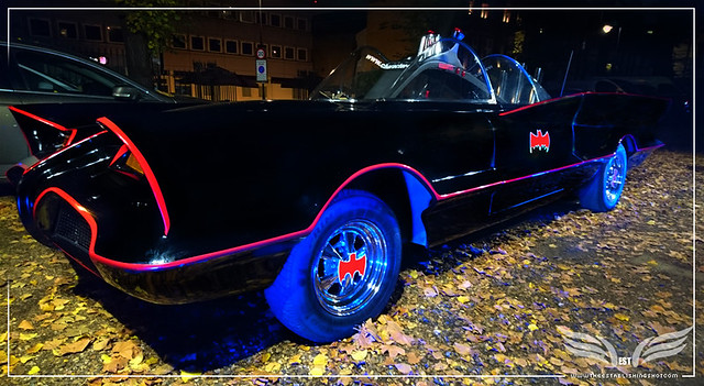 The Establishing Shot: CHARACTER CARS 1966 BATMOBILE (SIDE VIEW) AT THE ROGUES GALLERY - CREATION OF A SUPER-VILLAIN BOOK LAUNCH @ THE CRYPT GALLERY, LONDON - OCT 2015