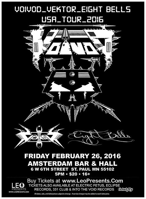 02/26/16 Voi Vod/ Vektor/ Eight Bells @ Amsterdam Bar & Hall, St. Paul, MN