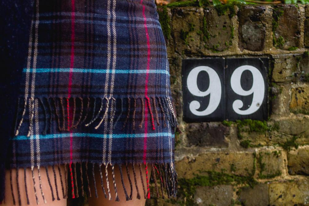 asos plaid check scarf wrap skirt