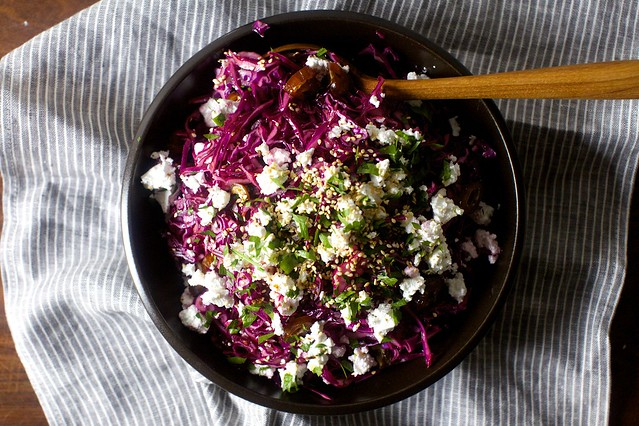 date, feta and red cabbage salad