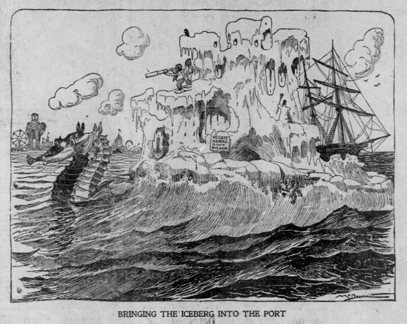 The Salt Lake herald., October 05, 1902, Bringing The Iceberg Into The Port