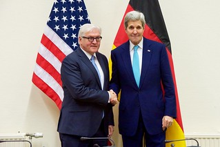 Secretary Kerry Shakes Hands With German Foreign Minister Steinmeier at NATO Ministerial