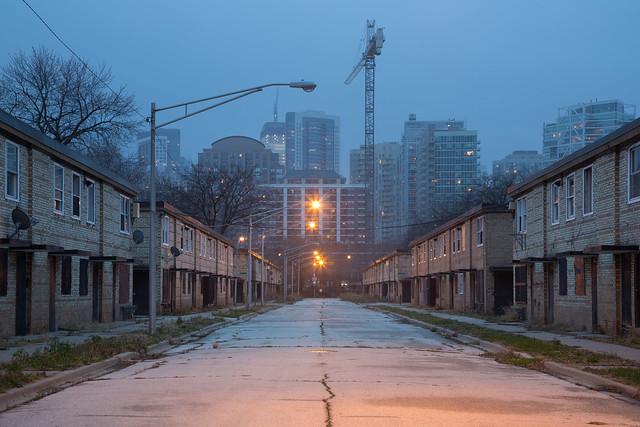 Cabrini Row Houses at Dusk, New Construction Beyond