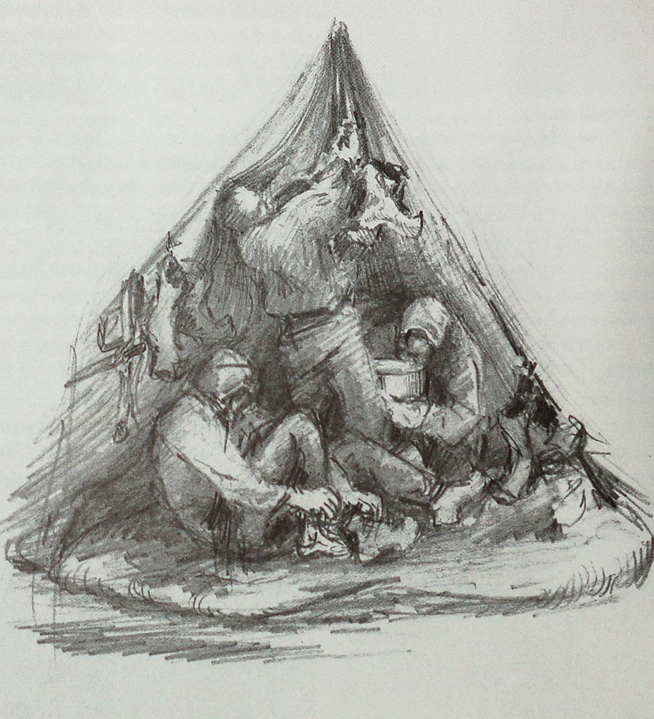 Camping after dark, pencil drawing by Edward Adrian Wilson