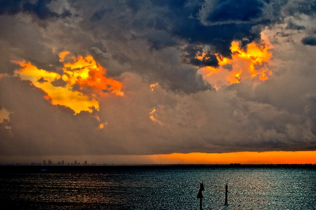 Sunset Bombshells Explode Behind Dark Mushroom Cloud Armada Rolling Over Tampa Bay - IMRAN™ - Explored!