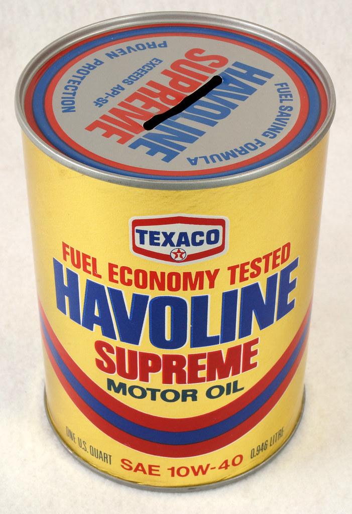RD14906 Texaco Havoline Supreme Motor Oil Can Coin Bank DSC06450