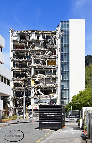 <p>Damaged by the recent earth quake, this nine story building has been deemed unstable and is now being demolished.</p>