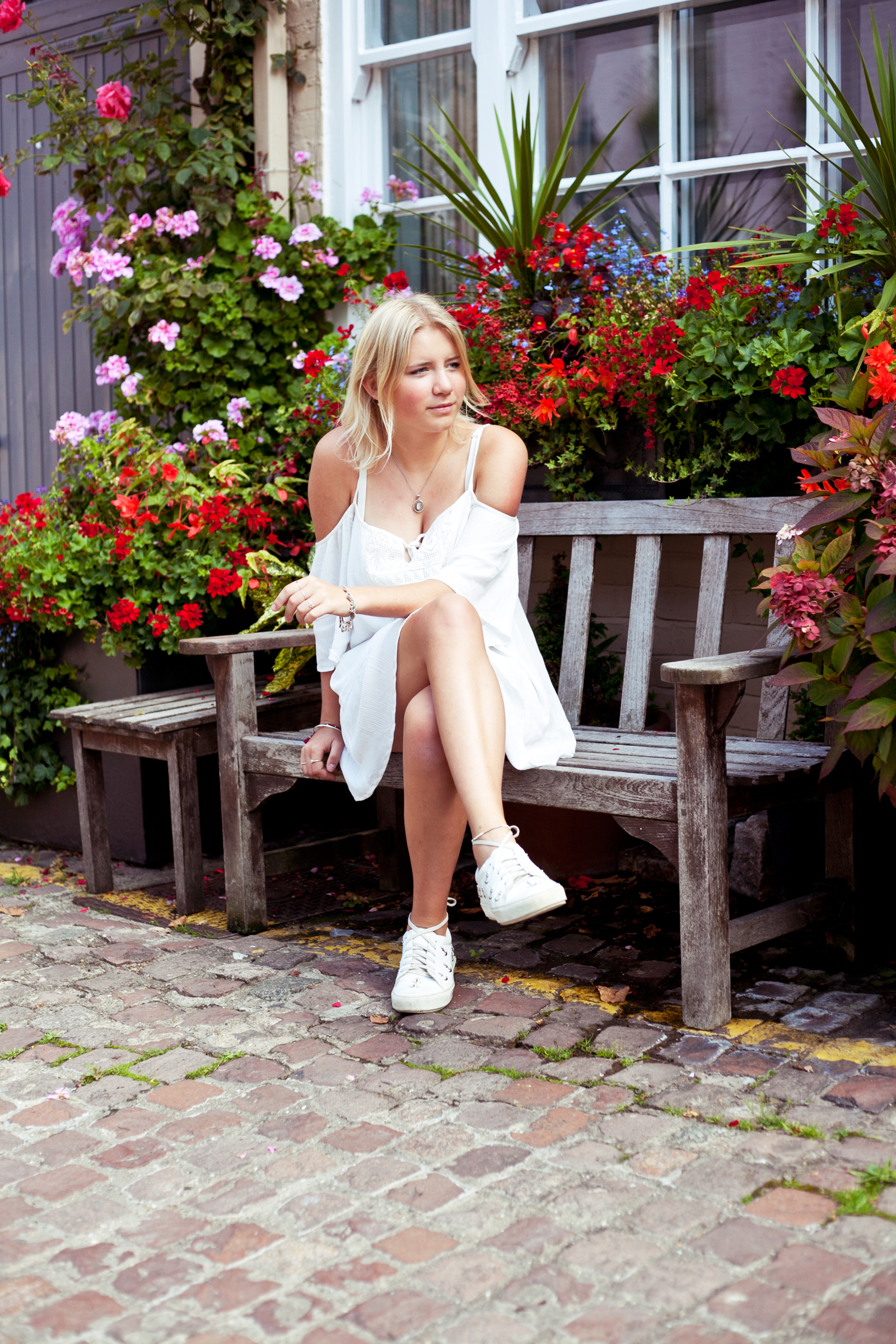 Pull and Bear white dress