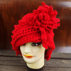 Red Crochet Hat Womens Hat, LAUREN Crochet Cloche Hat Crochet Flower in Red, Womens Red Hat Ladies by strawberrycouture