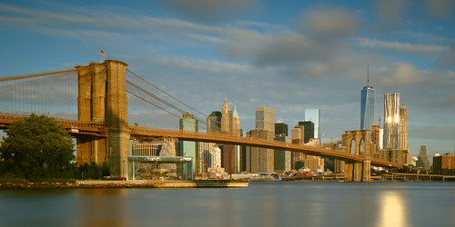 Brooklyn Bridge and One World Trade Center, morning light