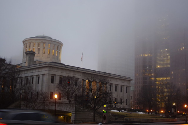Ohio Capital Building, morning fog