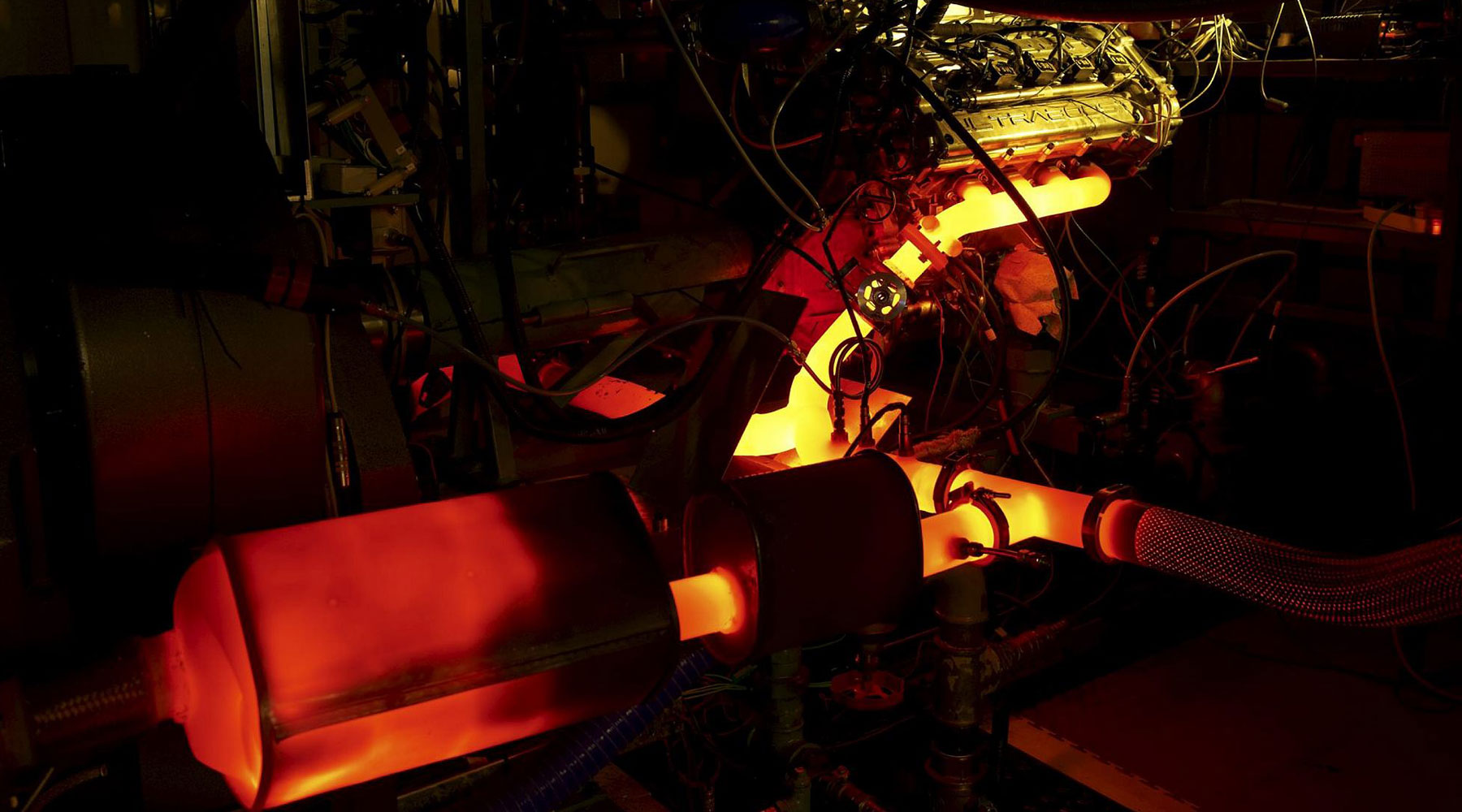 A turbo-charged engine glows orange as it's put through its paces at our Turbo Centre.