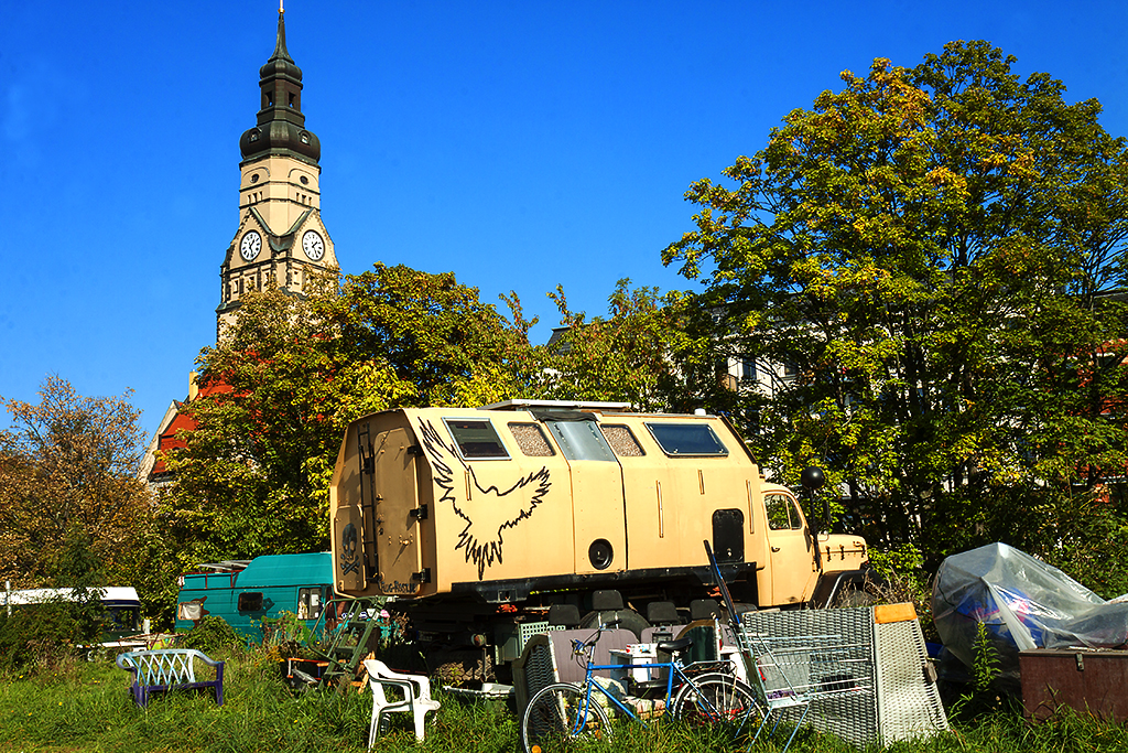 Anarchist squatter camp in upscale Lindenau--Leipzig