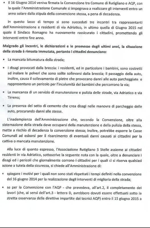 Rutigliano- Il Movimento 5 Stelle preseta una istanza per via Adriatico 2